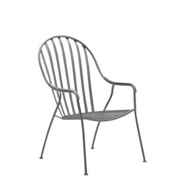 Wrought Iron Restaurant Chairs Valencia Stacking High-Back Barrel Arm Chair