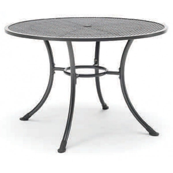 "Wrought Iron Restaurant Tables 36"" Round Mesh Top Table with Umbrella Hole"