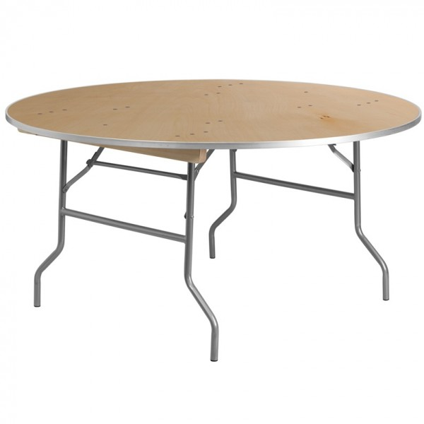 XA-60-BIRCH-M-GG 60 inch round commercial banquet hotel hospitality folding table