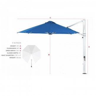 11ft Octagon Aurora Atherton Cantilevered Commercial Outdoor Restaurant Pool Hotel Resort Patio Umbrella 3