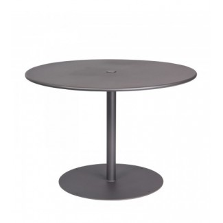 "Solid 42"" Round Top Umbrella Table - Pedestal Base"