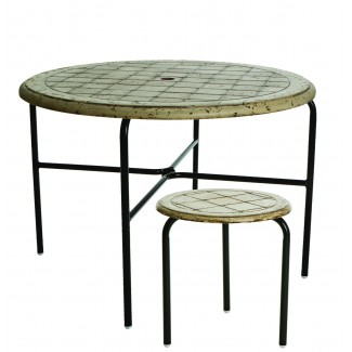 "18"" Round Coblestone Fiberglass Side Table M1118-C"