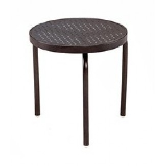 "18"" Round Stamped Aluminum Top Side Table M1018-ST"