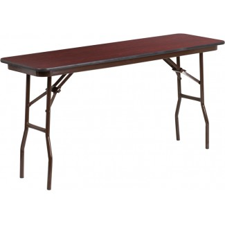 18'' x 60'' Mahogany Melamine Laminate Folding Table