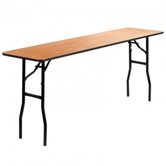 18'' x 72'' Wood Folding Table With Clear Coated Top