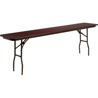 18'' x 96'' Mahogany Melamine Laminate Folding Table