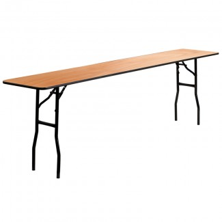 18'' x 96'' Wood Folding Table With Clear Coated Top