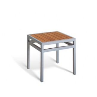 "20"" Square End Table - Teak TEMPERED GLASS"