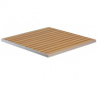 "24"" Square Composite Teak / Aluminum Edge Tabletop"