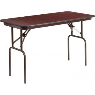 24'' x 48'' Mahogany Melamine Laminate Folding Table