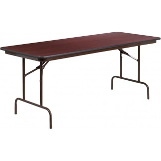 30'' x 72'' Mahogany Melamine Laminate Folding Table
