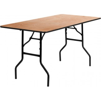 30'' x 60'' Wood Folding Table With Clear Coated Top