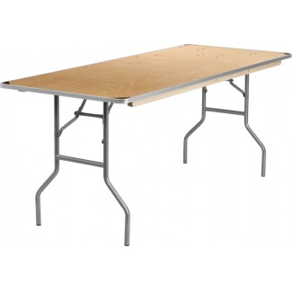 30'' x 72'' Heavy Duty Birchwood Folding Table with Metal Edges