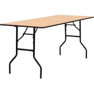 30'' x 72'' Wood Folding Table With Clear Coated Top