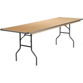 30'' x 96'' Heavy Duty Birchwood Folding Table with Metal Edges