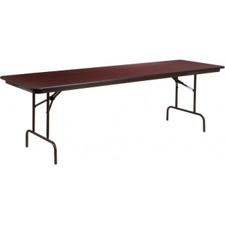 30'' x 96'' Mahogany Melamine Laminate Folding Table