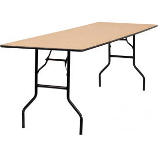 30'' x 96'' Wood Folding Table With Clear Coated Top