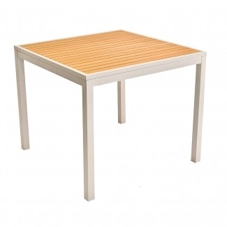32 x 32 Hospitality Restaurant Aluminum and Teak Wood Composite Outdoor ADA Table