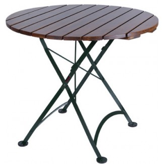 "32"" Round Table with Wood Slat Top"