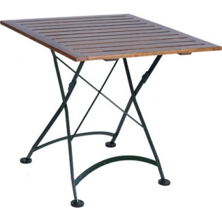 "32"" Square Table with Wood Slat Top"