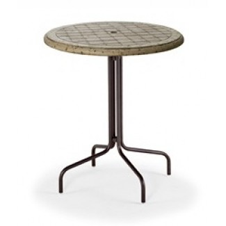 "36"" Round Cobblestone Fiberglass Top Bar Height Table MC1536-C"