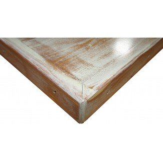 "36"" Square Distressed Wood Plank Table Top"
