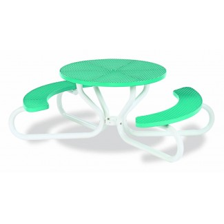 "42"" Round Plastisol Table with Umbrella Hole and Attached Concave Seats - 4 Legs"
