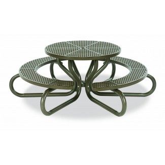 "42"" Round Plastisol Table with Umbrella Hole and Attcahed Concave Seats - 6 Legs"