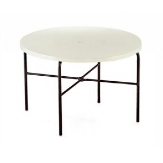 "42"" Round Slate Fiberglass Top Dining Table M1142-6"