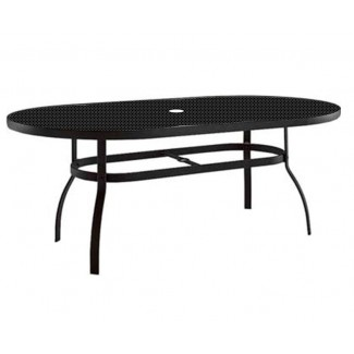 "42"" x 74"" Oval Deluxe Umbrella Table with Patterned Aluminum Top 826174"