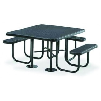 "46"" ADA Compliant Plastisol Table with Umbrella Hole and Attached Seats"