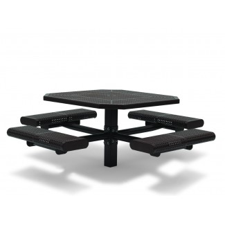 "46"" Octagon ADA Compliant Plastisol Table with Umbrella Hole and Attached Seats - Surface Mount"