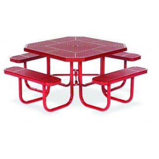 "46"" Octagon Plastisol Table with Umbrella Hole and Attached Seats"