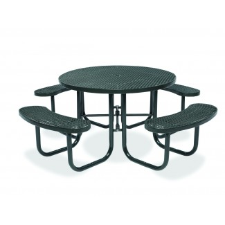 "46"" Round Plastisol Table with Umbrella Hole and Attached Seats"