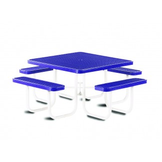 "46"" Square Plastisol Table with Umbrella Hole and Attached Seats"