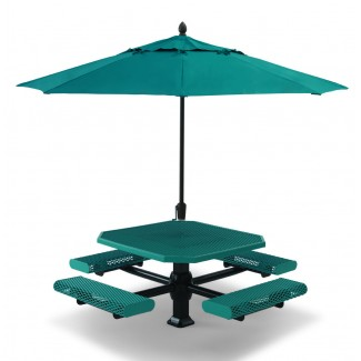 "46"" Superior Octagon Plastisol Table with Umbrella Hole and Attached Seats"