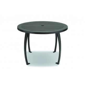 "48"" Round ADA Compliant Faux Wood Table with Horizontal Slat"