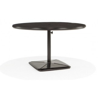 "48"" Round Dining Cafe Table with Umbrella Hole and Cast Plug"