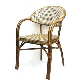 606AW Marseille French Cafe Bistro Rattan Woven Bamboo Parisian Arm Chair Tan