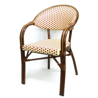 606AW Marseille French Cafe Bistro Rattan Woven Bamboo Parisian Arm Chair Red