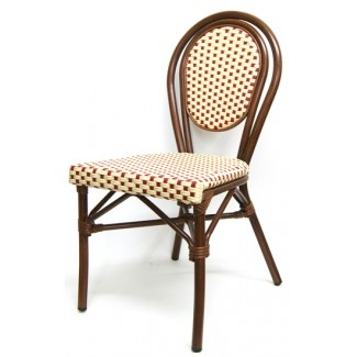 606SR Marseille French Cafe Bistro Rattan Woven Bamboo Parisian Side Chair Red