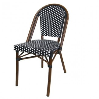 608SB Lyon French Cafe Bistro Rattan Woven Bamboo Parisian Side Chair Black