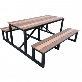 6ft Durango Outdoor Commercial Restaurant Hospitality Aluminum and Faux Teak Picnic Table