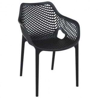 Air XL Stacking Resin Arm Chair - Black