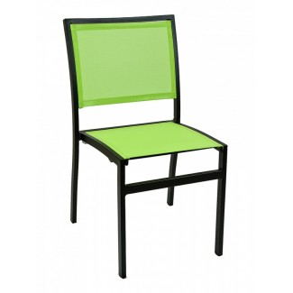 Mediterranean Aluminum Stackable Side Chair with Batyline Mesh Seat and Back