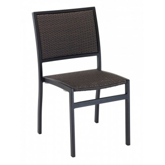 Mediterranean Aluminum Stackable Side Chair with Woven Seat and Back