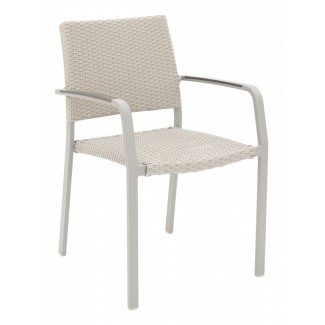 AL-5725A Modern Outdoor Woven Commercial Restaurant Resort Stacking Arm Chair