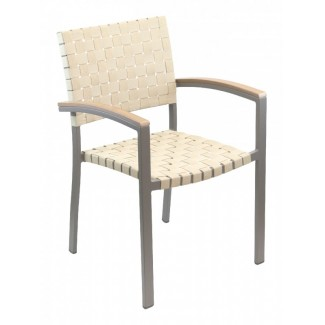 AL-5800A Woven Aluminum Modern Basketweave Stackable Restaurant Commercial Arm Chair