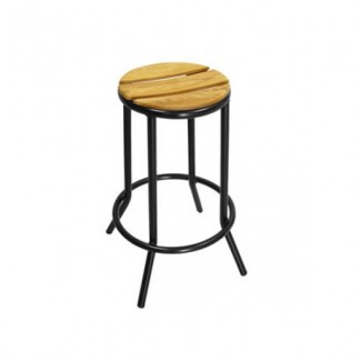 Aluminum Backless Bar Stool with Composite Teak Seat