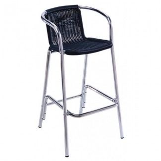 Aluminum Bar Stool with Wicker Seat - Black
